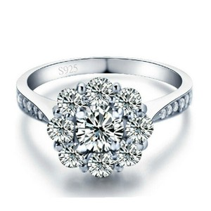 9.2.5 Sizes 4.5 5 6 7 8 9 In Stock Sterling Silver S925 Engagement Flower 1 Carat Floral Vintage Ring