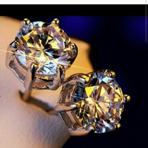 9.2.5 S925 Sterling Silver 1 Carat Stud Earring Diamond Cc Lab Ball Cz Rhinestone Crystal Prom