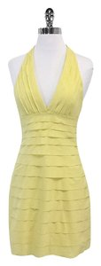 BCBGMAXAZRIA Light Yellow Tiered Cotton Blend Halter Dress
