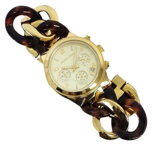 Michael Kors Gold & Tortoiseshell Chain Link Watch