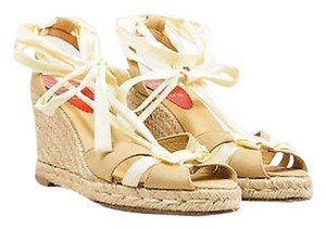 Christian Louboutin Espadrille Wedge Sandal Beige Sandals