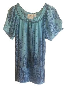 St. John St Peasant Top Blue Paisley