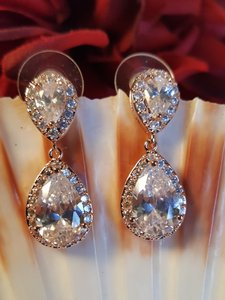 Bridal Rose Gold Tear Drop Cz Earrings