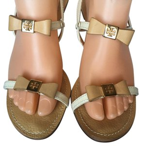 Tory Burch Bow Gold Hardware Heel Sandals