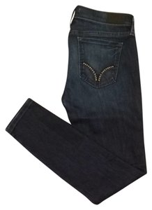 bebe Fitted Style Studded Pants Dark Darkrinse Skinny Jeans-Dark Rinse