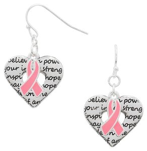 Modern Edge Pink Ribbon Earrings