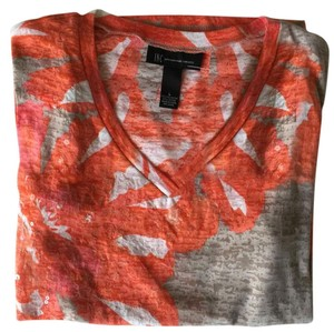 INC International Concepts Orange Pink T Shirt Multi