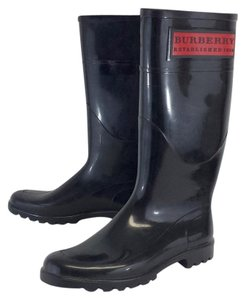 Burberry Black Rubber Rain Boots
