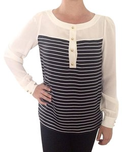 Kate Spade Striped Gold Hardware Top Cream and Navy