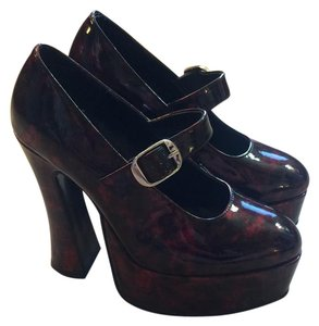 Morbid Threads Rebel Threads Mary Janes Rockabilly Marroon Platforms