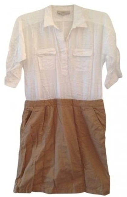 Preload https://item1.tradesy.com/images/ann-taylor-loft-white-and-khaki-classic-work-wear-to-work-knee-length-short-casual-dress-size-petite-157855-0-0.jpg?width=400&height=650