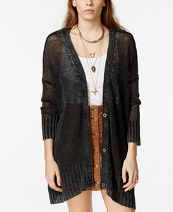 Free People Linen Summer Boho Sweater Knit Distressed Cape