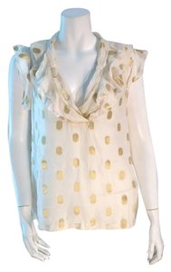 French Connection Gold Sleeveless Top Gold, Ivory