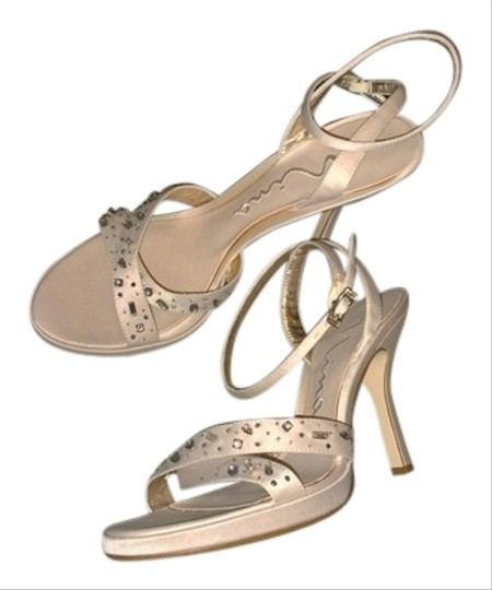 Nina Shoes Evening Rhinestones Satin beige Sandals