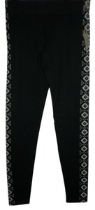Maurices Small Geometric Print Elastic Waist 95% Black Leggings