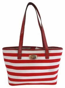 Michael Kors Canvas Red/white Tote in red/white stripe