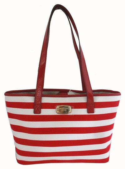 051b937a0624 Michael Kors Red/White Stripe Canvas Summer Shopper Tote - Tradesy