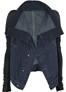Rick Owens Denim Leather Blue Black Jacket