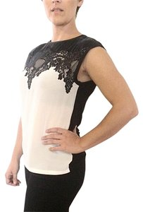 Maje Lace Sleeveless Top Black and white