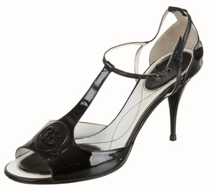 Chanel Interlocking Cc Ankle Strap T-strap Peep Toe Patent Leather Black Pumps