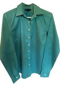 Lands' End Button Down Shirt Teal Green