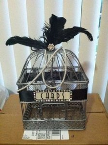 Silver & Black Art Deco Birdcage Card Box