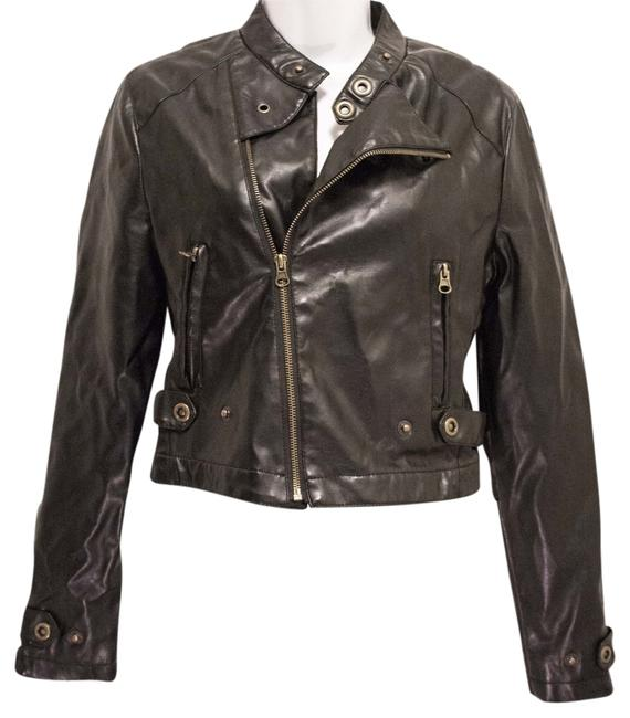 Just One Leather Motorcycle Natural Hipster Chic Hip Trendy Fun Flirty Leather Jacket