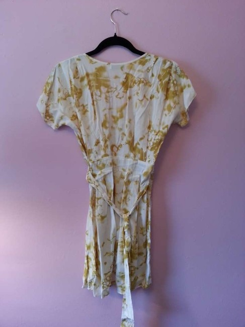 Pavonine short dress White w Yellow/Green Leaf Print on Tradesy