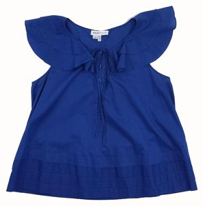 See by Chloé Blue Cotton Ruffly Top