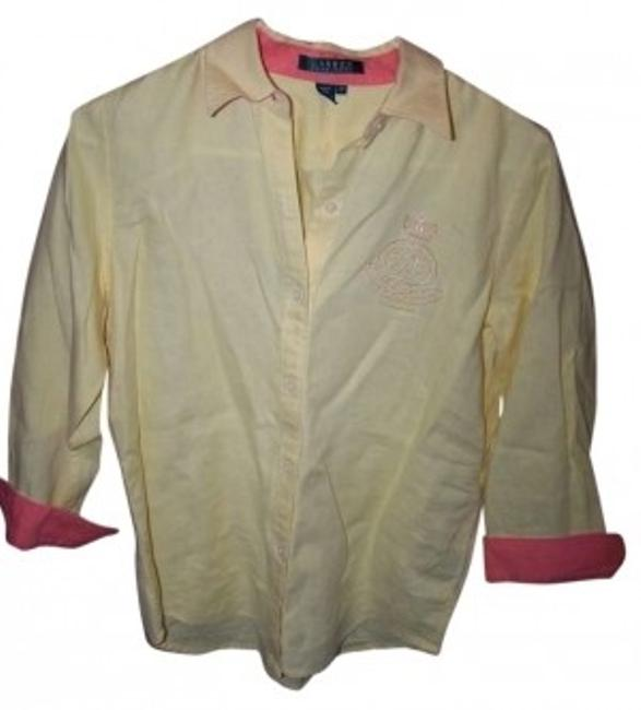 Ralph Lauren Long Sleeve Linen Button Down Shirt YELLOW