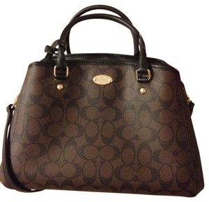 Coach Satchel in Black and Brown Signature