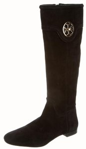 Tory Burch Suede Gold Hardware Reva Logo Round Toe Black, Gold Boots
