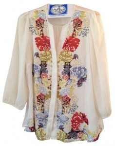 H&M Boho Chic Top Ivory Floral