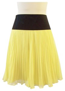 Other Chiffon Pleated A-line Pretty Mini Skirt Yellow