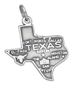 Other Sterling Silver Antiqued Texas State Charm