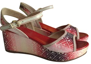 Fendi Reds and creme Wedges