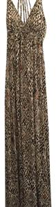 Brown and beige, neutral pattern Maxi Dress by Eye Candy Los Angeles Animal Print Maxi Fall Comfortable Halter