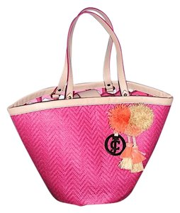 Juicy Couture Summer Leather Print Fuchsia Beach Bag