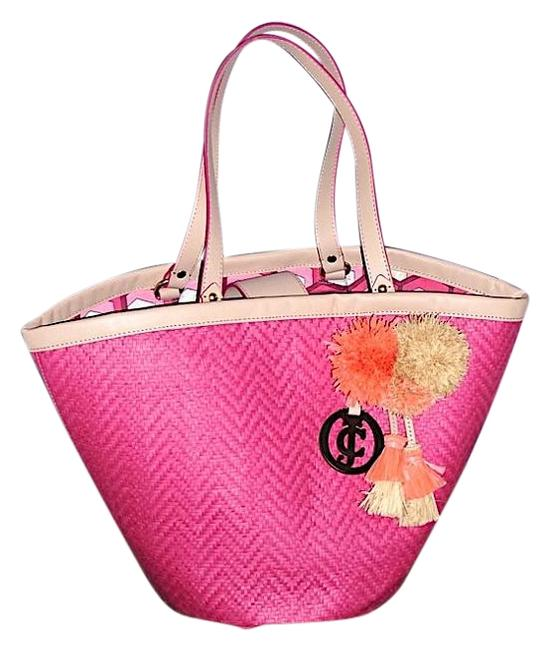 Item - Mid-summer Sale Attached Fuchsia Straw with Leather Straps Beach Bag