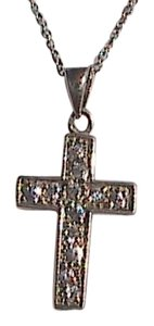 Vintage Sterling Silver CZ Crucifix Necklace