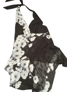 BCBG Max Azria Black with White Floral Design Halter Top