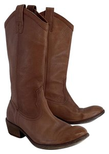 Frye Tan Leather Mid Calf Boots