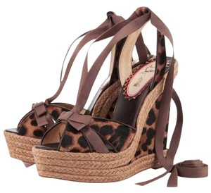 Christian Louboutin Red Sole Leopard Rope Platform tan Wedges
