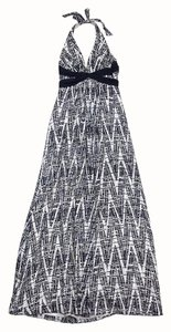 Maxi Dress by BCBGMAXAZRIA Black Cream Print Silk Maxi