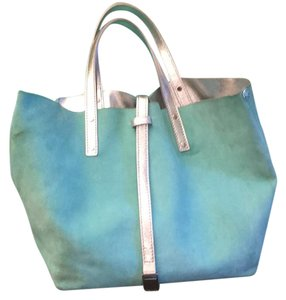 Tiffany & Co. And Co Handbags Tote in tiffany blue/silver metallic leather