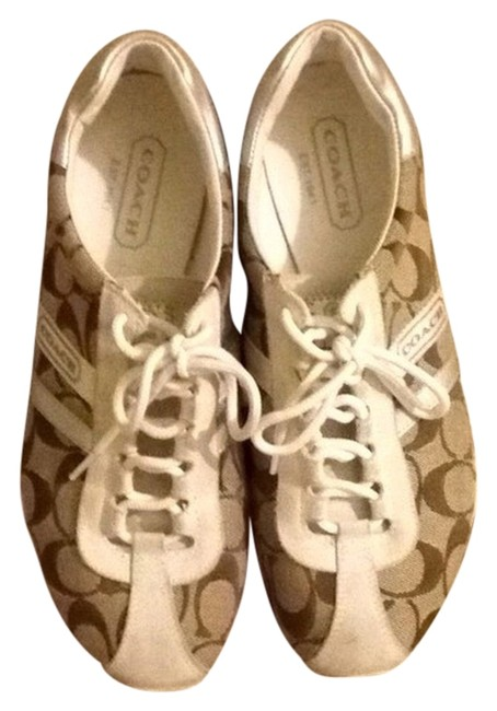 Item - Signature Fabric W Silver Accent and Off White Suede Trim Flats Sneakers Size US 7.5 Regular (M, B)