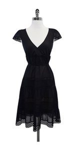 Akris Punto Black Tiered Eyelet Dress