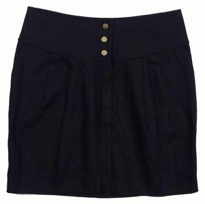 Tory Burch Black Linen Buttoned Skirt