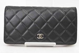Chanel France Classic Vintage Black Quilted Lambskin Leather Bi-Fold Long Wallet Coin Purse