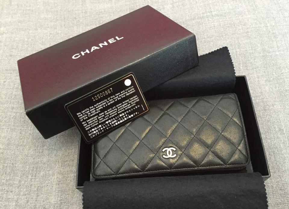 02bc8b79a1da Chanel France Classic Black Quilted Lambskin Leather Long Wallet Coin  Pocket Image 0 ...